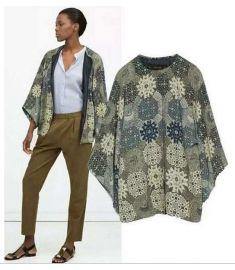 Ladies Vintage Floral Print No Button Kimono
