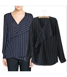 Vertical Stripe Patchwork Kimono-style Long-sleeve Chiffon Shirt