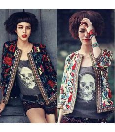 Vintage Embroidery Printed Women Jackets