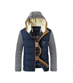 Patchwork Design Cotton-Padded Men Winter Down Jackets