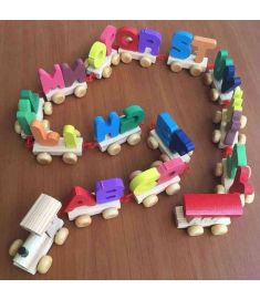 Wood Alphabet Train Letters Educational Toys