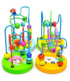Baby Colorful Wooden Mini Around Beads Educational Game