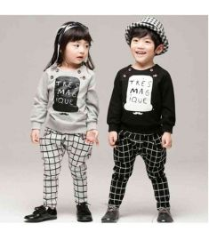 Boys and Girls Clothing Set Letter Plaid Casual