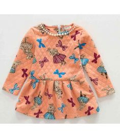 Long Sleeve Children Dress O-Neck