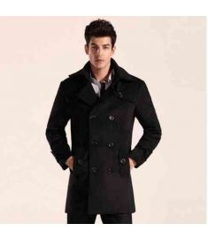 Elegent Wool Classic Long Trench Men Coat