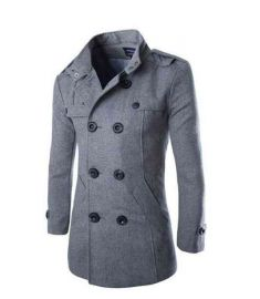 Long Warm Winter Coat Men Wool Blend Coats Double Breasted