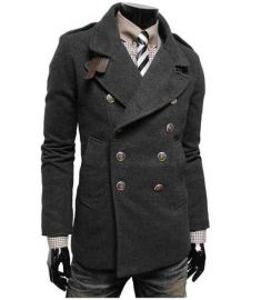 Winter Jacket Men Casual Worsted Trench Coat Double Breasted Overcoat