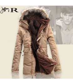 Winter Men Coat Lamb Wool Thick Padded