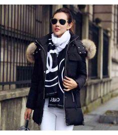Women Fur Collar Hooded Cotton Down Parka