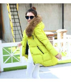 Womens Large Faux Fur Collar Thickening Hooded Jackets