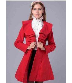 Womens Elegant Slim Fit Falbaba Wool Long Dress Coat