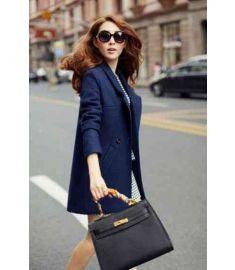 Blue Wool Coat Long Brand Desigual Woolen Coat