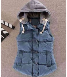 Women's Cotton Wool Collar Hooded Down Vest