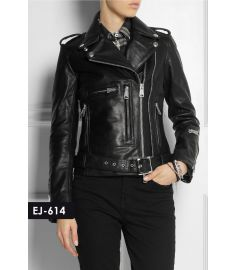WOMEN'S GENUINE LEATHER CLASSIC MOTO BIKER JACKET (REJ-614)-Large
