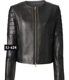 WOMEN'S GENUINE LEATHER COLLARLESS BIKER JACKET (REJ-624)-Large