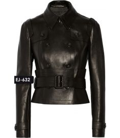 WOMEN'S GENUINE LEATHER DOUBLE-BREASTED JACKET (REJ-632)-Large