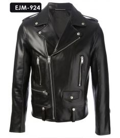 MEN'S GENUINE LEATHER CLASSIC BIKER JACKET (REJM-924)-Medium