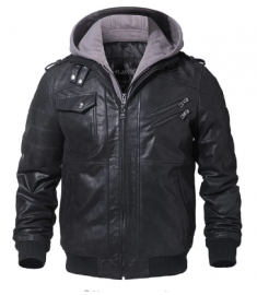Men's Real Leather Motorcycle jacket Removable Hood