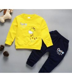 Christmas 1-4 Years Old Kids Winter Clothes Giraffe Printed Boys T-shirt Set
