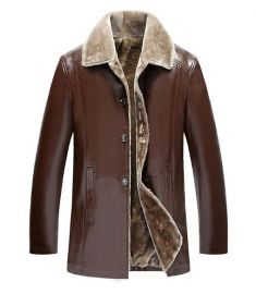 Winter Fur Leather Jacket For Men Plus Size Suede Leather Jackets Faux Fur