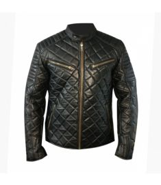 Men Lambskin Leather Jacket Grid Pattern - Best Quality Leather