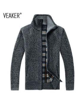 Winter Men's SweaterCoat Faux Fur Wool Sweater Jackets Men Zipper Knitted Thick Coat