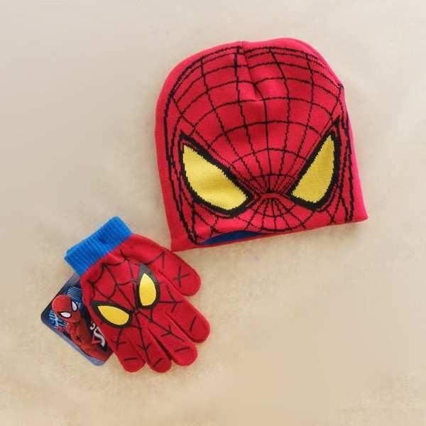 04fafac4c52 Autumn Winter Girls Boys Hat Set Cartoon Spider Man Warm Cap ...
